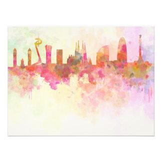 Barcelona skyline in watercolour background photo print