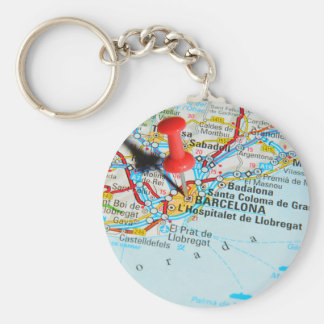Barcelona, Spain Basic Round Button Keychain