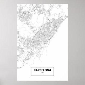Barcelona, Spain (black on white) Poster