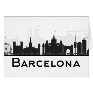 Barcelona, Spain | Black & White City Skyline Card