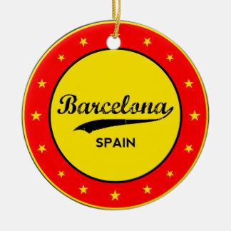 Barcelona, Spain, circle Ceramic Ornament