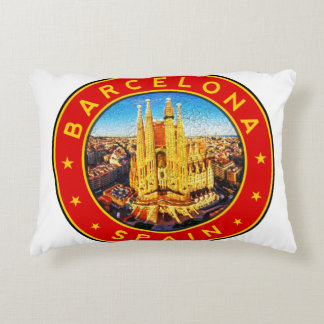 Barcelona, Spain, circle, red Accent Pillow