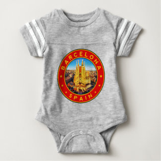 Barcelona, Spain, circle, red Baby Bodysuit