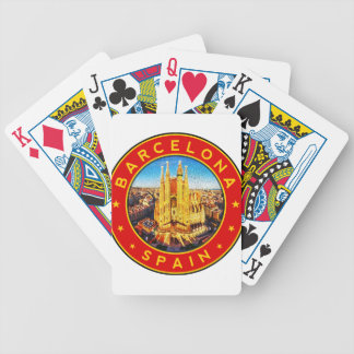 Barcelona, Spain, circle, red Bicycle Playing Cards