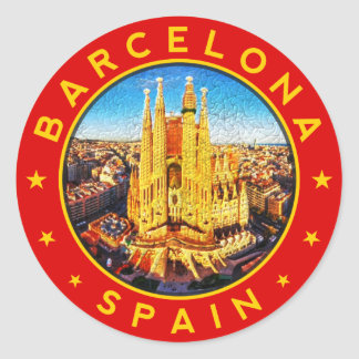 Barcelona, Spain, circle, red Classic Round Sticker