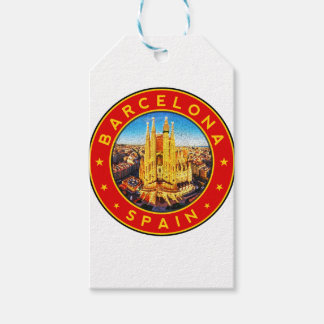 Barcelona, Spain, circle, red Gift Tags
