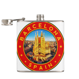 Barcelona, Spain, circle, red Hip Flask
