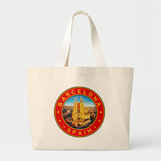 Barcelona, Spain, circle, red Large Tote Bag