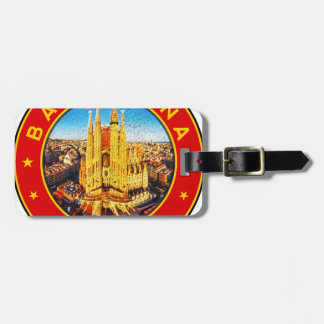 Barcelona, Spain, circle, red Luggage Tag