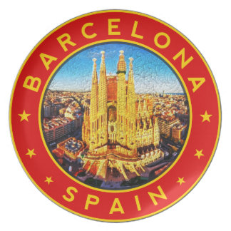 Barcelona, Spain, circle, red Plate