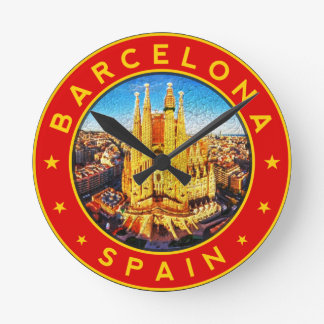 Barcelona, Spain, circle, red Round Clock