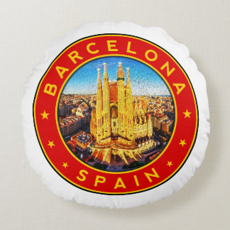 Barcelona, Spain, circle, red Round Pillow