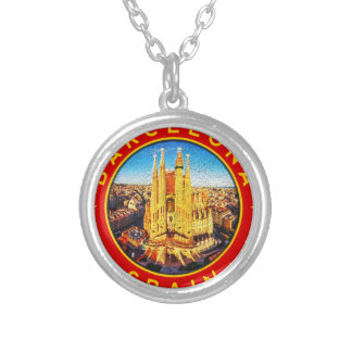 Barcelona, Spain, circle, red Silver Plated Necklace