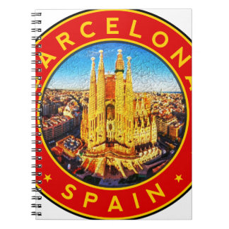 Barcelona, Spain, circle, red Spiral Notebook