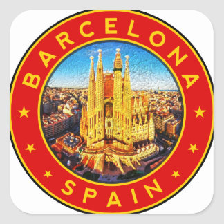 Barcelona, Spain, circle, red Square Sticker