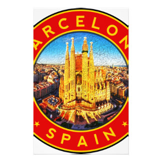 Barcelona, Spain, circle, red Stationery