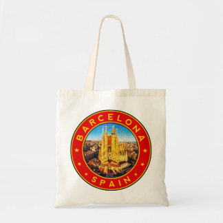 Barcelona, Spain, circle, red Tote Bag