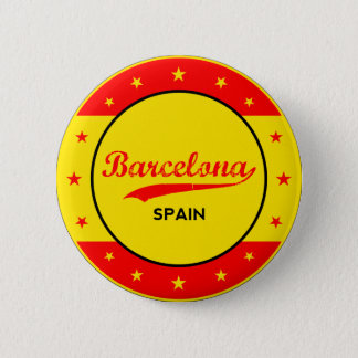 Barcelona, Spain, circle with flag colors 2 Inch Round Button