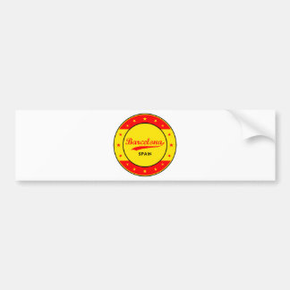Barcelona, Spain, circle with flag colors Bumper Sticker