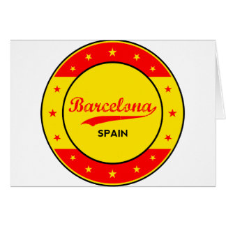Barcelona, Spain, circle with flag colors Card