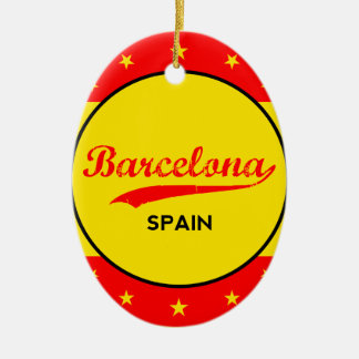 Barcelona, Spain, circle with flag colors Ceramic Ornament