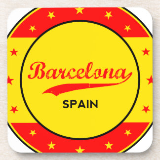 Barcelona, Spain, circle with flag colors Coaster