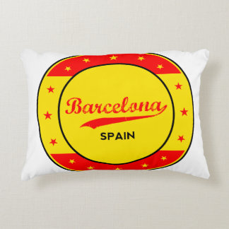 Barcelona, Spain, circle with flag colors Decorative Pillow