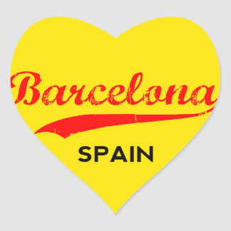 Barcelona, Spain, circle with flag colors Heart Sticker