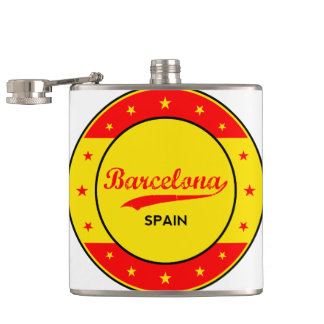 Barcelona, Spain, circle with flag colors Hip Flask