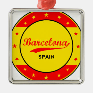 Barcelona, Spain, circle with flag colors Metal Ornament