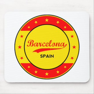 Barcelona, Spain, circle with flag colors Mouse Pad