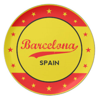 Barcelona, Spain, circle with flag colors Plate