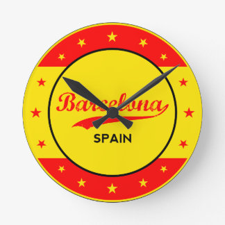 Barcelona, Spain, circle with flag colors Round Clock