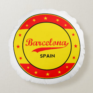 Barcelona, Spain, circle with flag colors Round Pillow