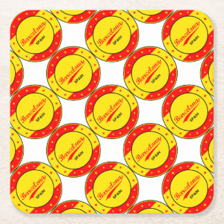 Barcelona, Spain, circle with flag colors Square Paper Coaster