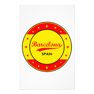 Barcelona, Spain, circle with flag colors Stationery