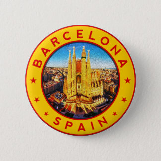 Barcelona, Spain, circle, yellow 2 Inch Round Button