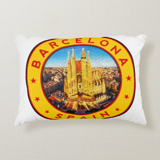 Barcelona, Spain, circle, yellow Accent Pillow