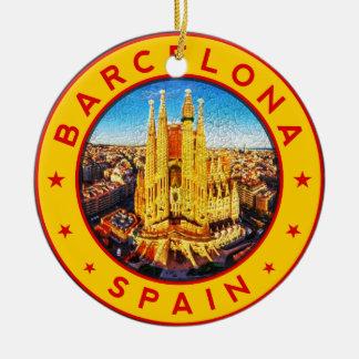 Barcelona, Spain, circle, yellow Ceramic Ornament
