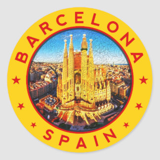 Barcelona, Spain, circle, yellow Classic Round Sticker