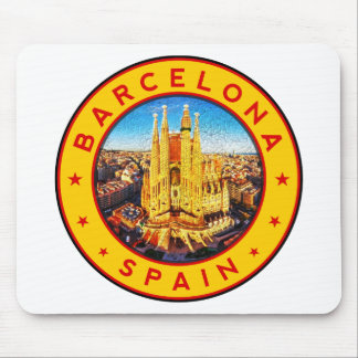Barcelona, Spain, circle, yellow Mouse Pad