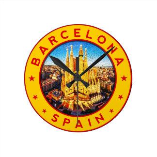 Barcelona, Spain, circle, yellow Round Clock