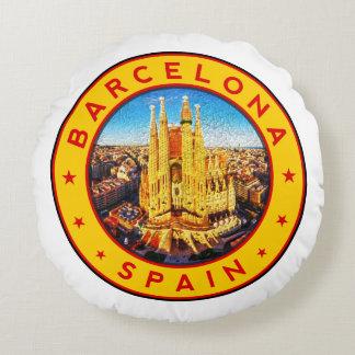Barcelona, Spain, circle, yellow Round Pillow