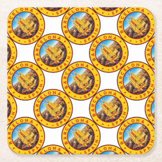 Barcelona, Spain, circle, yellow Square Paper Coaster