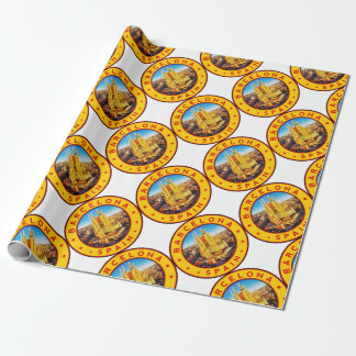 Barcelona, Spain, circle, yellow Wrapping Paper