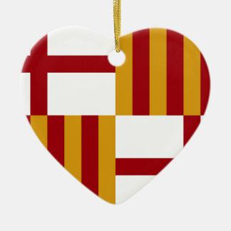 Barcelona (Spain) Flag Ceramic Heart Ornament