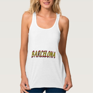 Barcelona Spain Flag Colors Typography Tank Top