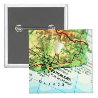 Barcelona, Spain Map 2 Inch Square Button