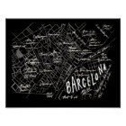 Barcelona Spain Map Poster - Black Vintage Style
