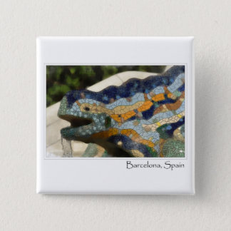 Barcelona Spain Parc Guell Mosaic Lizard 2 Inch Square Button